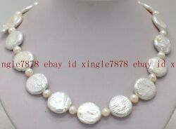 Fashion 20mm Huge White Baroque Coin Pearl And 7-8mm White Pearl Necklace 18 Aaa+