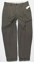 Nwt Brooks Brothers Elliot Pleated Relaxed Fit Cuffed Chinos Mens 34 X 32 Brown