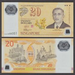 Singapore P.53 20 Dollars 2007 Singapore-brunei Currency Accord-polymer Unc