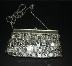 Vintage Silver Beaded Sequin Evening Bag Clutch Wedding Party Purse Small $30.00