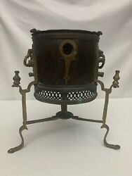 Antique Copper And Brass Brazier Camp Stove Firepot