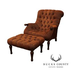 Stickley Fine Upholstery Collection Tufted Leopoldand039s Chair And Ottoman