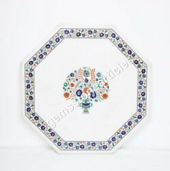 White Marble Custom Corridor Table Top Lapis Inlay Floral Fine Design Home Depot