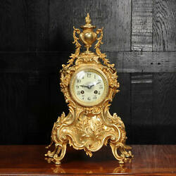 Antique French Gilt Bronze Rococo Clock By A D Mougin