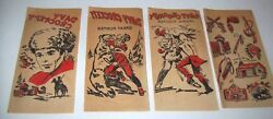 Davy Crockett Vintage Decals Western 1950s NOS Set Of 4 Red Iron On Transfers