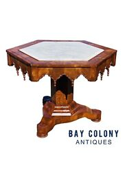 19th C Antique Southern Us Mahogany Gothic Parlor Table With Inset Marble Top