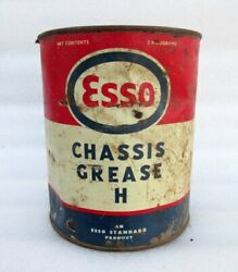 Vintage Old Rare Esso Motor Wheel Bearing Grease Automobile Litho Tin Can Box