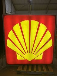 Vintage 1972 6and039 Lighted Shell Oil Dealership Sign -gas/oil/service/works