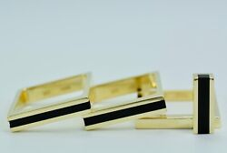 Trisko 3. Ring Set In 18k Yellow Gold With Inlay Onyx Ring Size 9.25