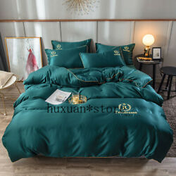 Letter Embroidery Pure Satin Silk Bedding Set Bed Sheet Duvet Cover King Queen