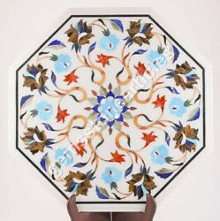 White Marble Coffee Table Top Inlaid Turquoise Pietra Dura Gift Bedroom Dandeacutecor