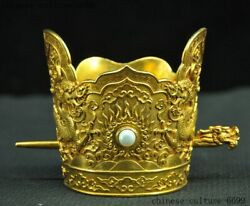 Chinese Silver Gilt Gem Dragon Loong Official Hat Hair Accessories Hairpin Set