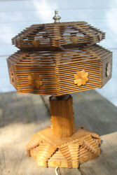 Lamp Jail Popsicle Stick art hand made retro MCM deco props gift Estate find OS