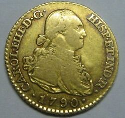 1790 Madrid 1 Escudo Charles Iv High Grade Gold Spain Doubloon Spanish Colonial