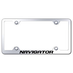 Name Etched On Chrome Stainless Wide Body License Plate Frame For Navigator