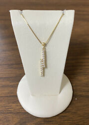 Beautiful 14k Yellow Gold Double Vertical Bars 1/2 Ctw Diamonds Pendant Necklace