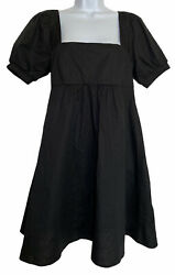 Womens Wild Fable Boho Babydoll Dress Size S Black Puff Sleeve