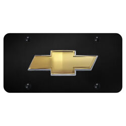 Licensed Black License Plate Oem Bowtie Logo For Chevy - Augd1617