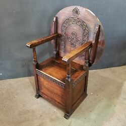 Antique English Carved Oak Monkand039s Seat / Table - 19th Century