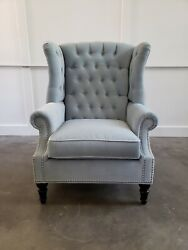 Button Tufted Wing Chair In Pale Blue Velvet Fabric - New
