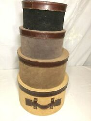Vintage Set Of 4 Nesting Stacking Hat Storage Boxes Leather/suede