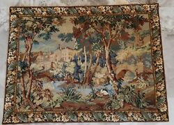 Fine Vibrant Vintage Swans On A Castle Lake Needlepoint Wall Tapestry 30 X 40