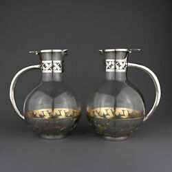 Pair French Solid Sterling Silver Claret Jug /decanter. Pierre Queille. Ca. 1880