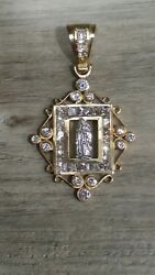 Large 16.8g 10k Gold And Cz Mother Mary Pendent