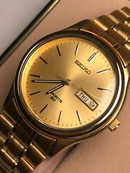 Seiko Sports Men's Round Watch Gold Tone Luminous Dial And Hands Vintage Bnwt