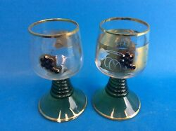 Two Vintage Used Green Etched Art Glass Gold Trim Small Shot Glasses Murano