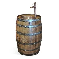 Handcrafted Whiskey Barrel Vanity - Walnut Stain Copper Sink 13 Faucet