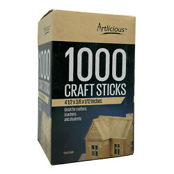 New Artlicious Natural Wooden Food Grade Popsicle 1000 Craft Sticks