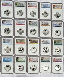 Complete Silver Ngc Pr70 Ultra Cameo State Park Quarters Set All 57 Coins1