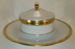 Bernardaud And Company Limoge France Covered Butter Dish Antique Rare 1910