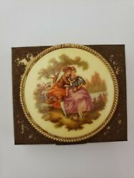 Victorian Style Porcelain Lady Pillbox Earring Compact 6 Holders Gold Tone Rusty