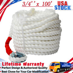 3/4''x100' Boat Anchor Rope Line W/stainless Steel Thimble 3 Strand Twisted Kit
