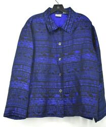 Chicoand039s Womens Blue Button-front Comfort-fit Long Sleeve Aztec Shirt Jacket 3
