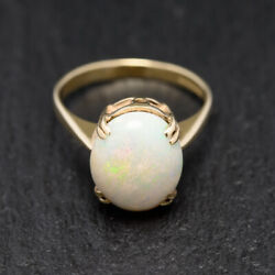 Vintage Scottish 9ct Gold And High Quality Precious White Opal Solitaire Ring