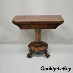 American Empire Crotch Flame Mahogany Paw Feet Pedestal Base Console Game Table