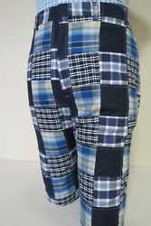 Classic Orvis Full Patch Work Madras Back Button Down Pocket Pants 36-29
