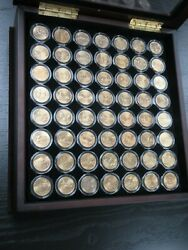 Gold Plated American State Quarters Complete Set Of 56 W/ Display Case
