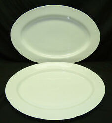 2 Block Spal Classic White Oval Serving Platters Gerald Gulotta Embossed Modern