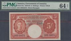 Goverment Of Jamaica 5 Shillings P-37a Nd1939-50 Pmg 64 Net
