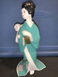 House Of Global Art Geisha Girl Lady And Baby Hand Painted In Japan Hakata Doll