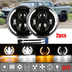 Pair Black 7 Inch Round Led Headlight Hi-lo Fit For Jeep Dodge Stealth