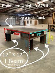 """Huge Industrial 5ton Welding Table 2"""" Thick Top Plate Warehouse 12 X 12 I-beam"""