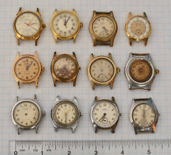 12-lot Vintage Swiss Boy Size Or Military Ww2 1950s Wrist Watches Part Repair