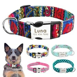 Nylon Personalized Dog Id Tag Nameplate Adjustable Pet Engraved Collar Necklace