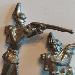 Metal 2 Us Indian War Military Army Toy Soldiers Plume Hat Rifle Kneel Standing