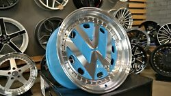 New 17 Inch 5x100 Deep Dish Wheels For Vw Golf Caddy Jetta Lupo Jdm Rr Style